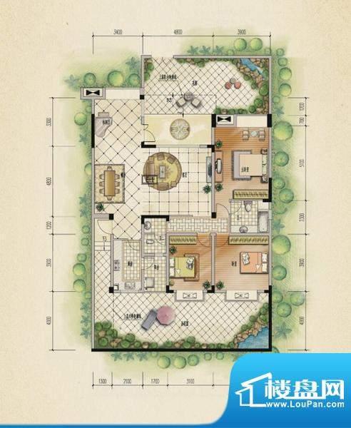 万山国际户型图一期2号楼1层A户面积:146.94平米