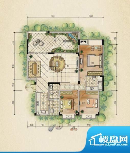 万山国际户型图一期2号楼3层A户面积:134.74平米