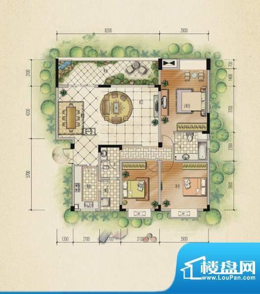 万山国际户型图一期2号楼5层A户面积:124.33平米