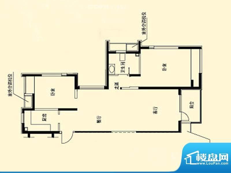 天宏水晶城户型图3栋A户型 2室面积:66.80平米