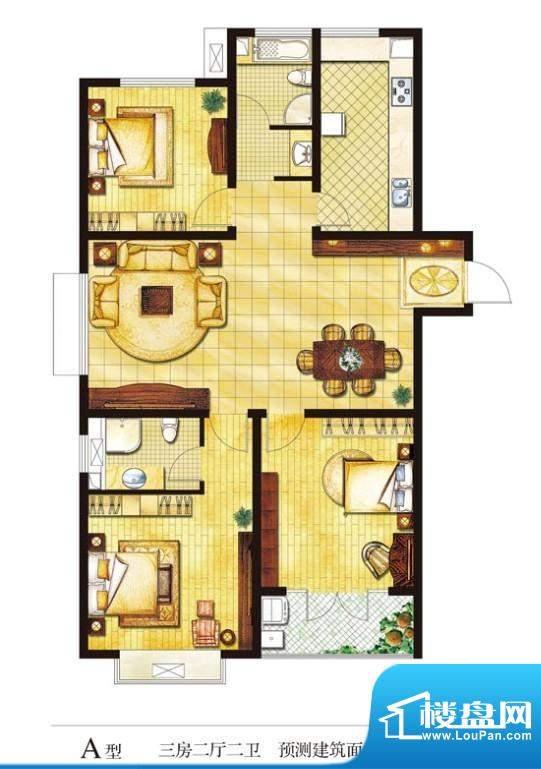 圣山帝景户型图a 3室2厅2卫1厨面积:142.46平米