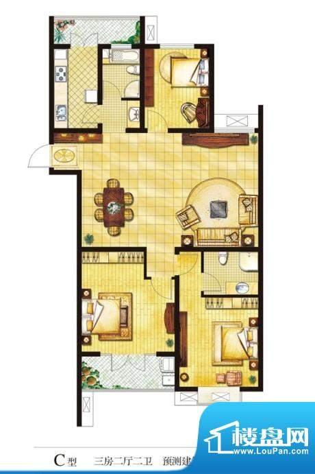 圣山帝景户型图c 3室2厅2卫1厨面积:150.00平米