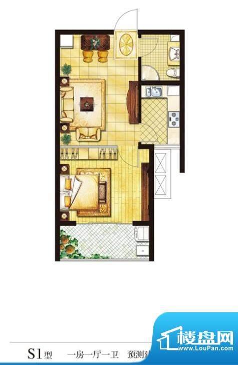 圣山帝景户型图s1 1室1厅1卫1厨面积:58.43平米