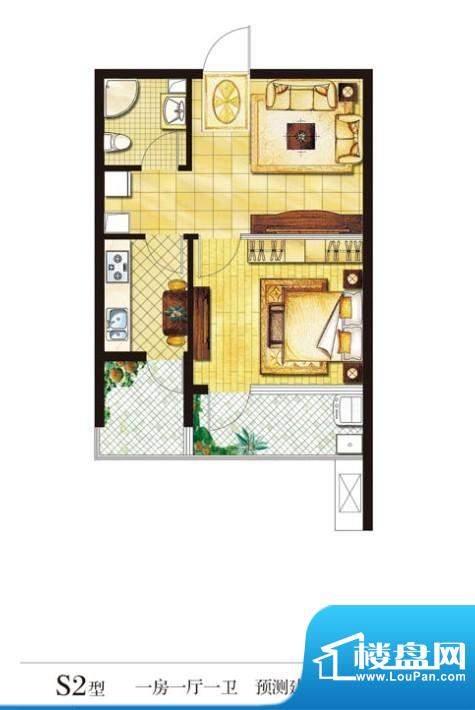 圣山帝景户型图s2 1室1厅1卫1厨面积:60.00平米