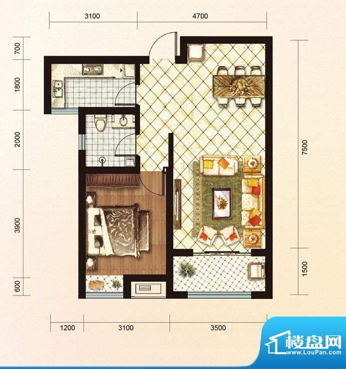 绿地公馆户型图a 1室2厅1卫1厨面积:70.00平米