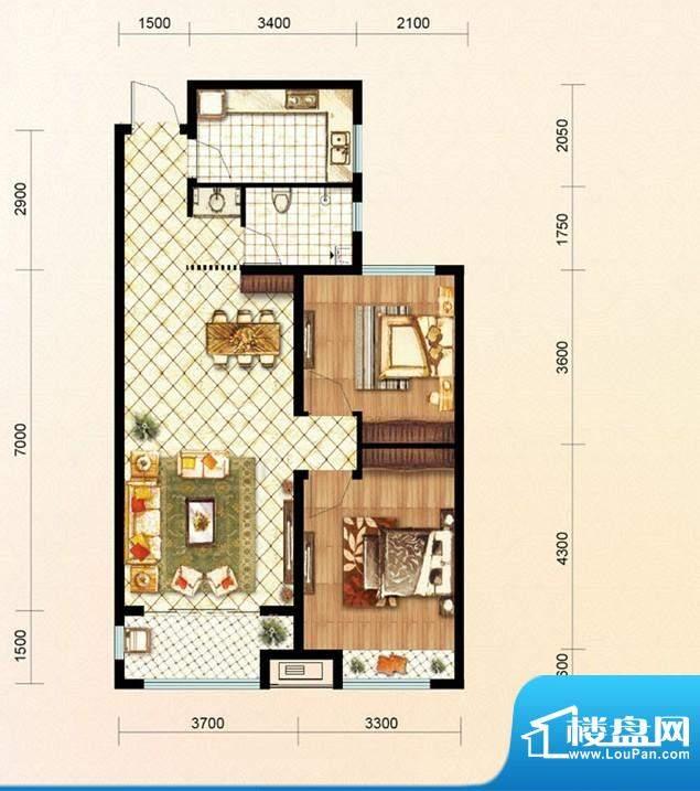 绿地公馆户型图b1 2室2厅1卫1厨面积:92.00平米