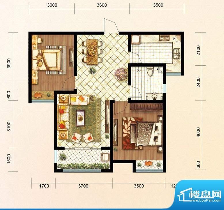 绿地公馆户型图b3 2室2厅1卫1厨面积:92.00平米