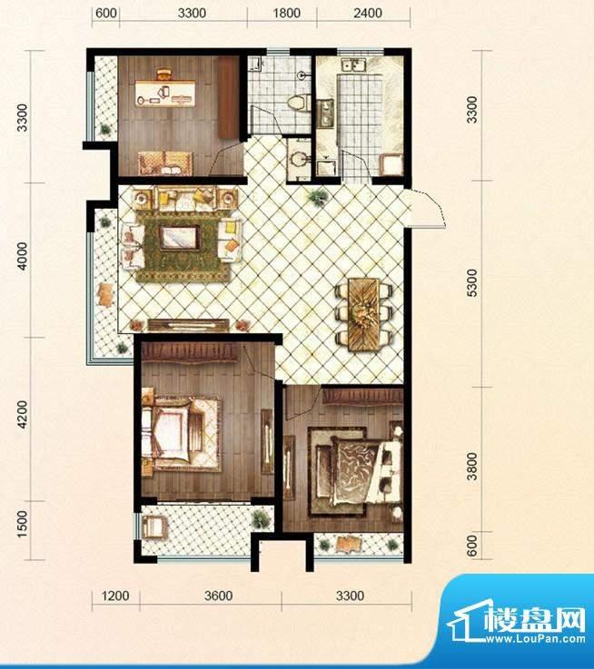 绿地公馆户型图c1 3室2厅1卫1厨面积:114.00平米