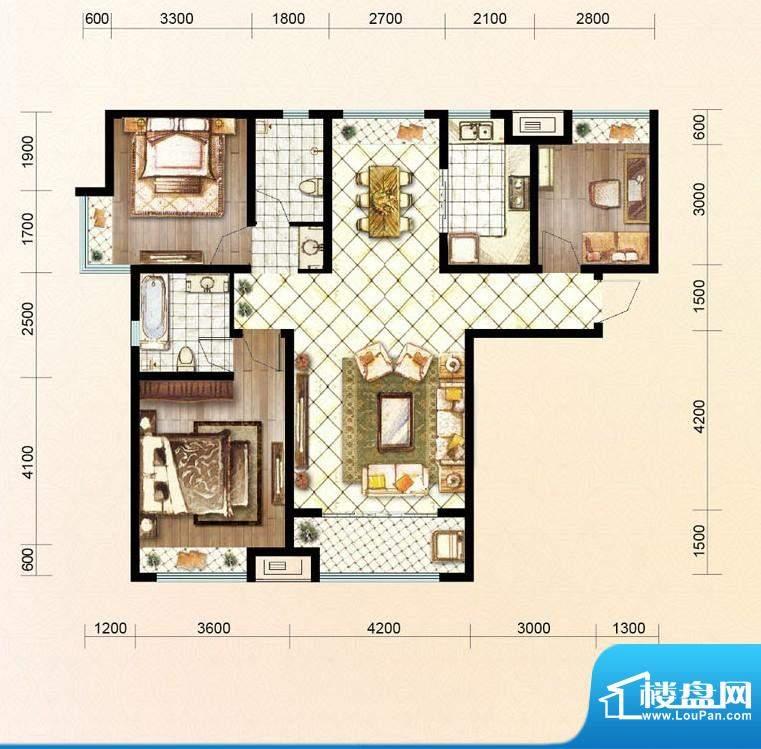 绿地公馆户型图c5 3室2厅2卫1厨面积:127.00平米