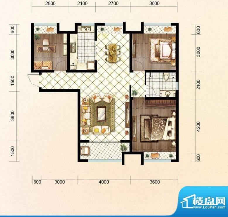 绿地公馆户型图c6 3室2厅1卫1厨面积:112.00平米