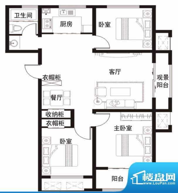 安居·金域缇香户型图A 3室2厅面积:107.00平米
