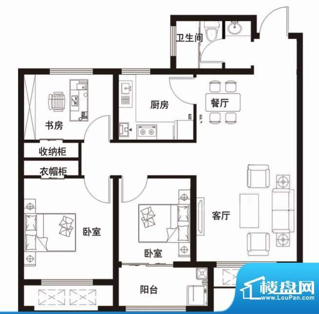 安居·金域缇香户型图C 3室2厅面积:99.00平米
