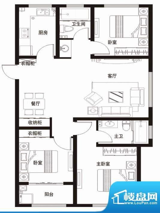 安居·金域缇香户型图D 3室2厅面积:117.00平米