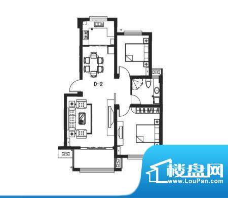 阳光和墅户型图d2 2室2厅1卫