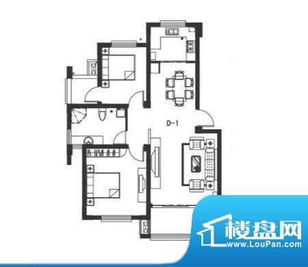 阳光和墅户型图d1 2室2厅1卫