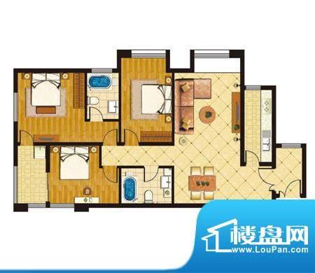 泰山公馆户型图c 3室2厅2卫1厨面积:130.00平米