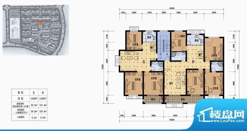 立丰·春天里户型图g 3室2厅1卫面积:95.20平米