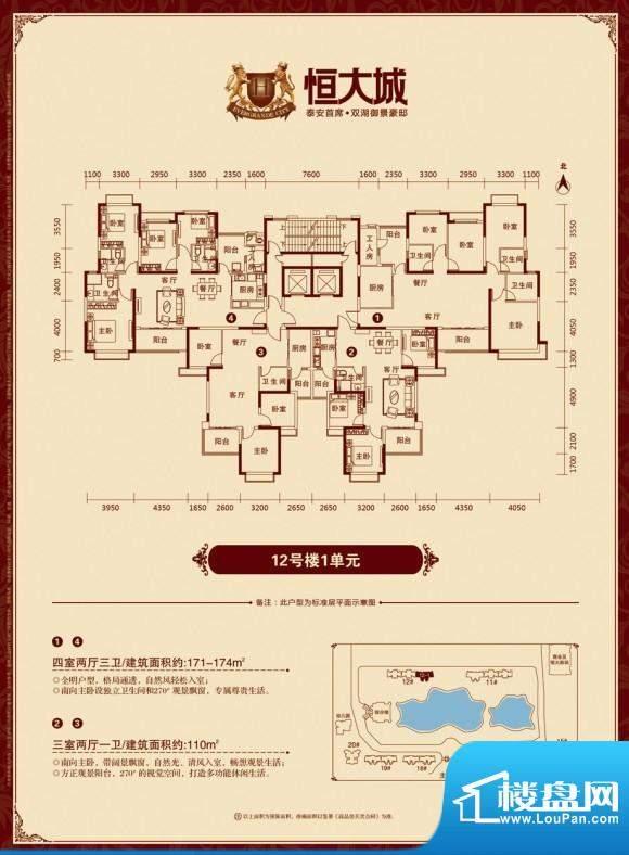 泰安·恒大城户型图12-1