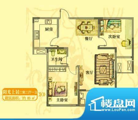 安居·上上城户型图yg 2室2厅1面积:85.00平米