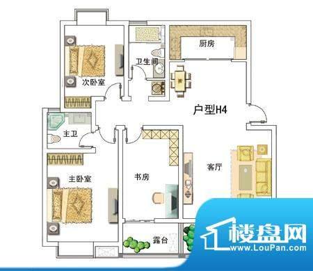 安居·上上城户型图4h 3室2厅2面积:136.00平米