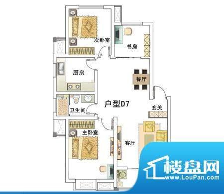 安居·上上城户型图7d 3室2厅1面积:100.00平米
