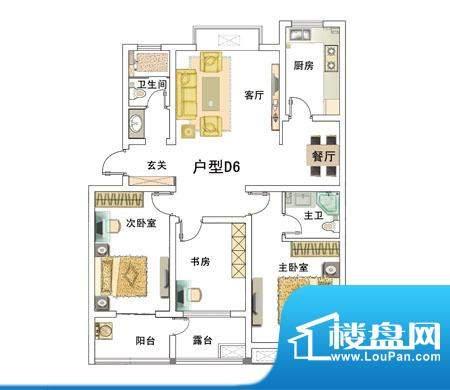 安居·上上城户型图6d 3室2厅2面积:119.00平米