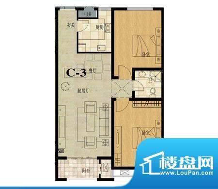龙城国际户型图9 2室2厅1卫面积:93.60平米