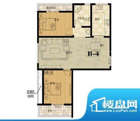龙城国际户型图5 2室2厅1卫面积:101.50平米