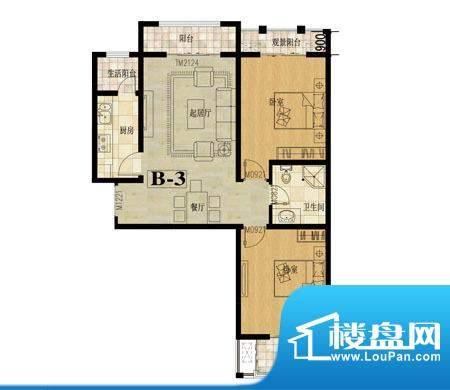 龙城国际户型图4 2室2厅1卫面积:99.00平米