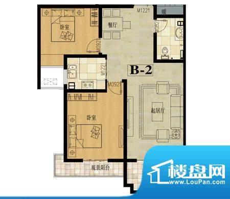 龙城国际户型图2 2室2厅1卫面积:91.90平米