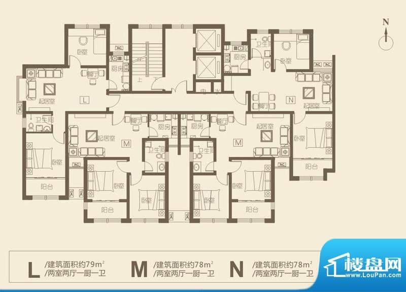 华新·新城户型图10 2室2厅1卫面积:79.00平米