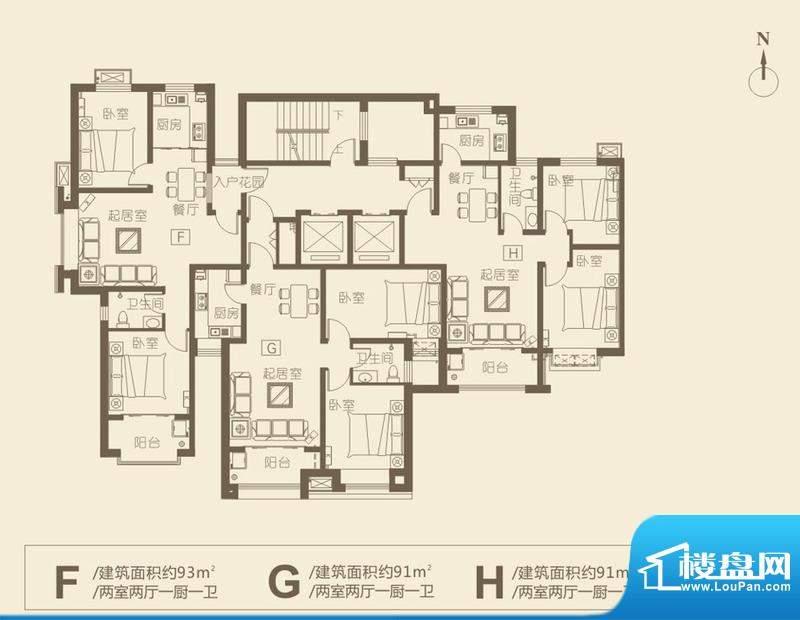 华新·新城户型图9 2室2厅1卫1面积:91.00平米