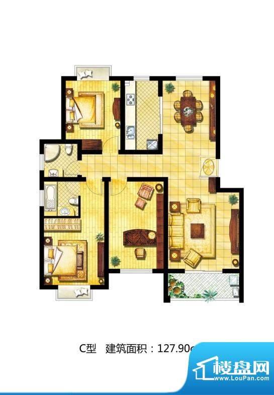 中天·南湖颐心园户型图c 3室2面积:127.90平米