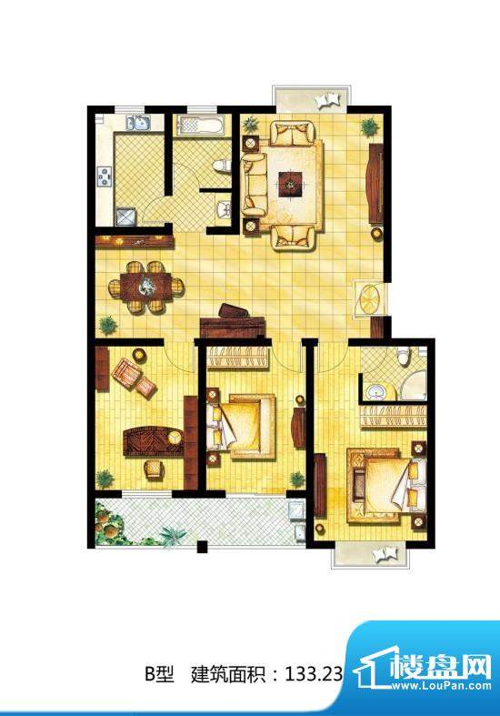中天·南湖颐心园户型图b 3室2面积:133.23平米