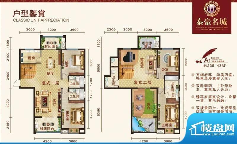泰豪名城户型图a11 4室3厅4卫1面积:235.43平米