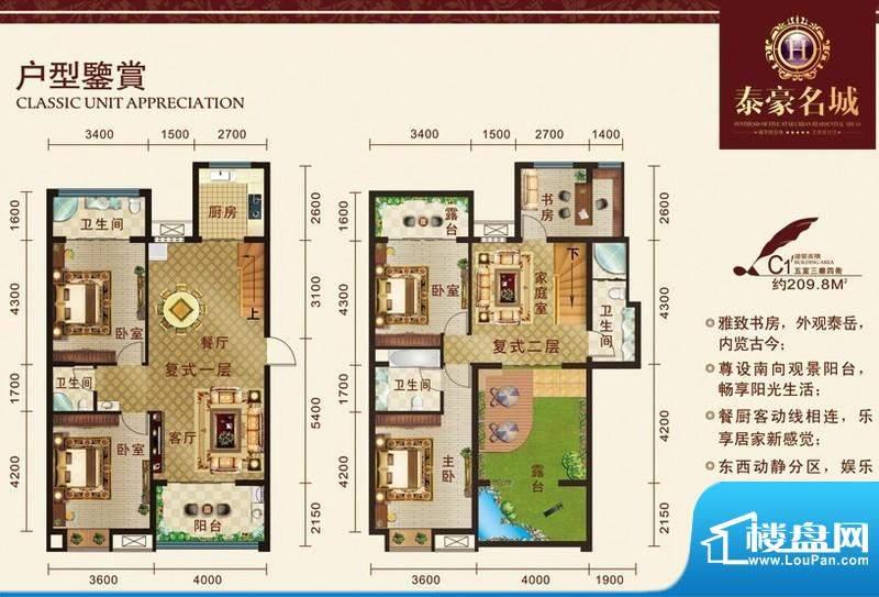 泰豪名城户型图c11 5室3厅4卫1面积:209.80平米