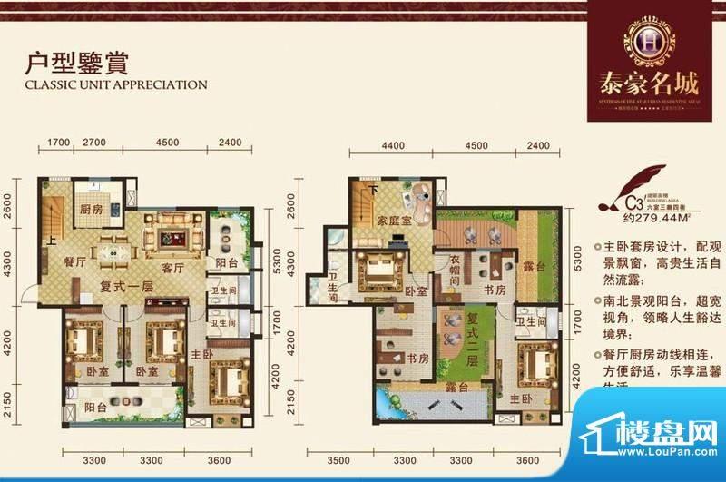 泰豪名城户型图c33 6室3厅4厨面积:279.44平米