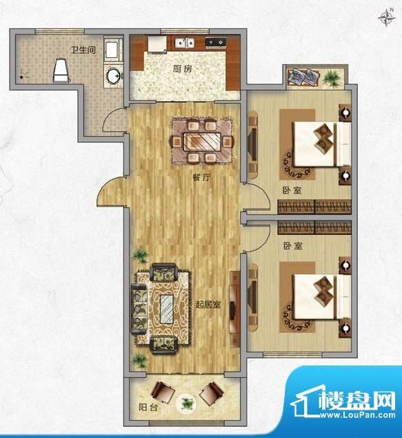 海普·凤凰城户型图k2 2室2厅1面积:89.00平米