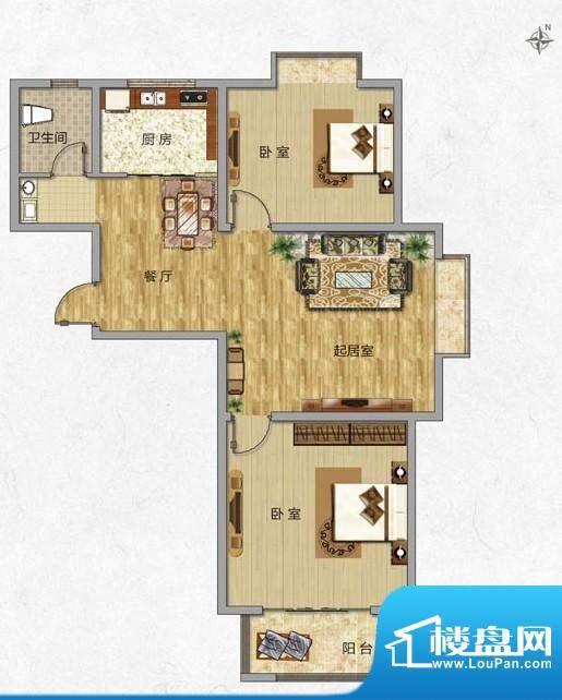 海普·凤凰城户型图l1 2室2厅1面积:87.00平米