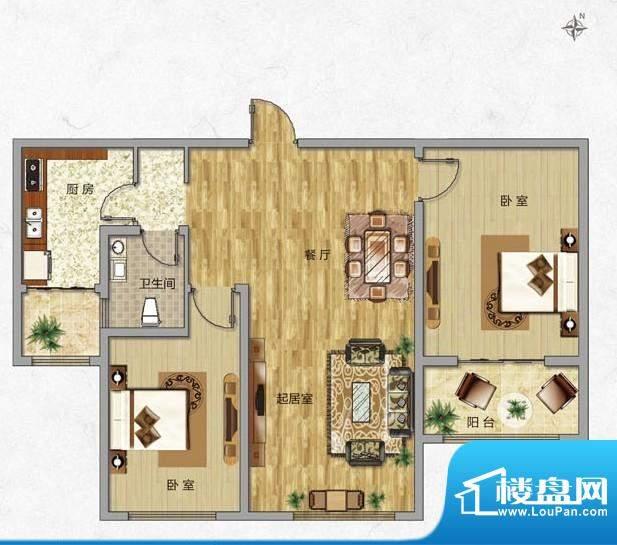 海普·凤凰城户型图l2 2室2厅1面积:87.00平米