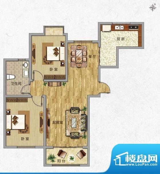 海普·凤凰城户型图l3 2室2厅1面积:88.00平米
