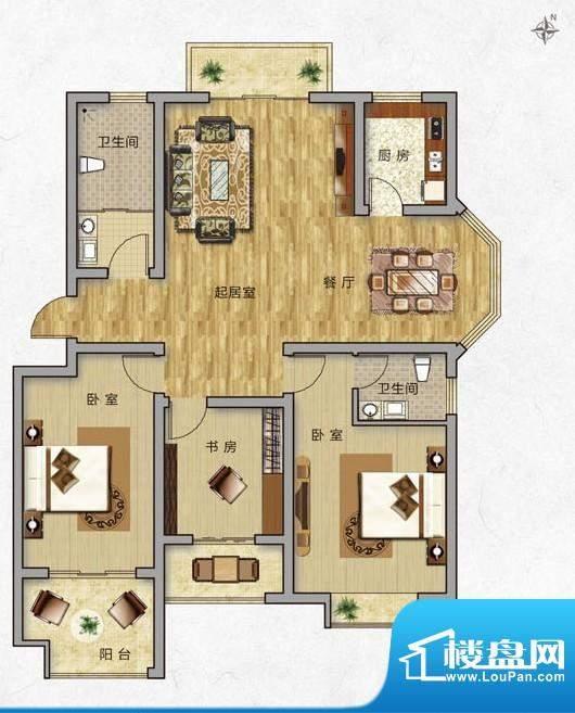 海普·凤凰城户型图b1 3室2厅2面积:130.00平米