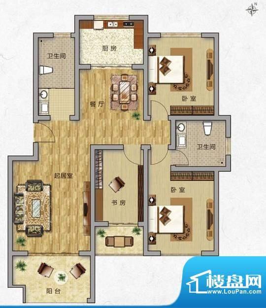 海普·凤凰城户型图c1 3室2厅2面积:127.00平米