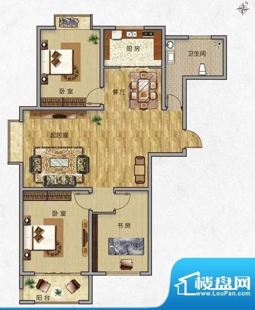 海普·凤凰城户型图e1 3室2厅1面积:113.00平米