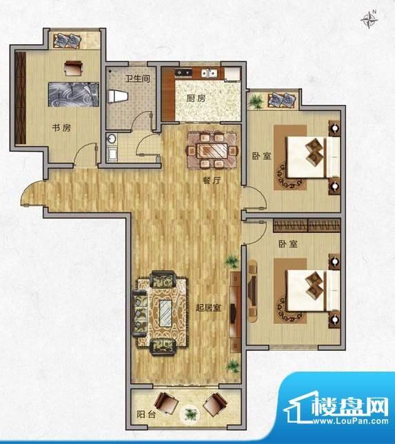 海普·凤凰城户型图e3 3室2厅1面积:119.00平米