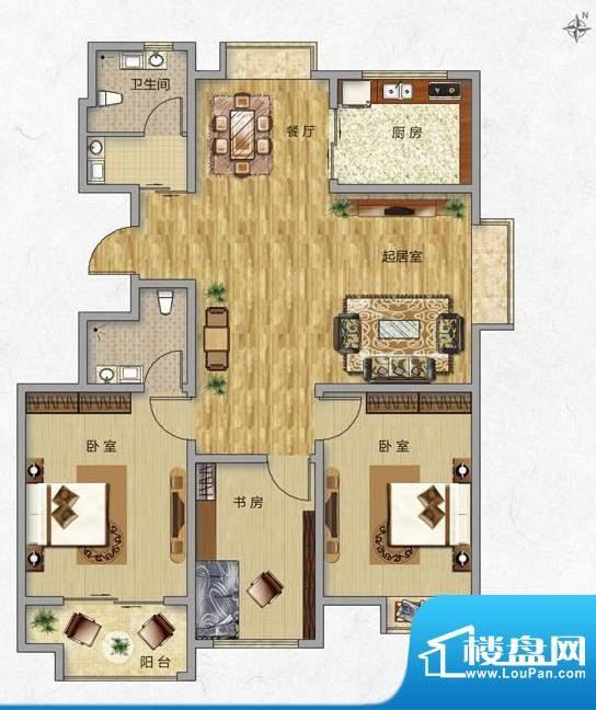 海普·凤凰城户型图f1 3室2厅2面积:115.00平米
