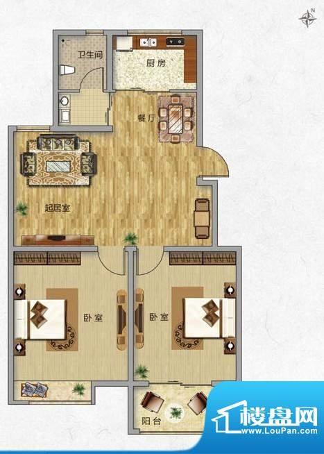 海普·凤凰城户型图f2 2室2厅1面积:89.00平米