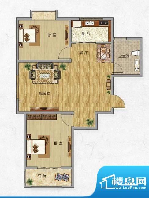 海普·凤凰城户型图h1 2室2厅1面积:89.00平米