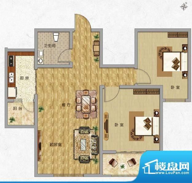 海普·凤凰城户型图h2 2室2厅1面积:83.00平米