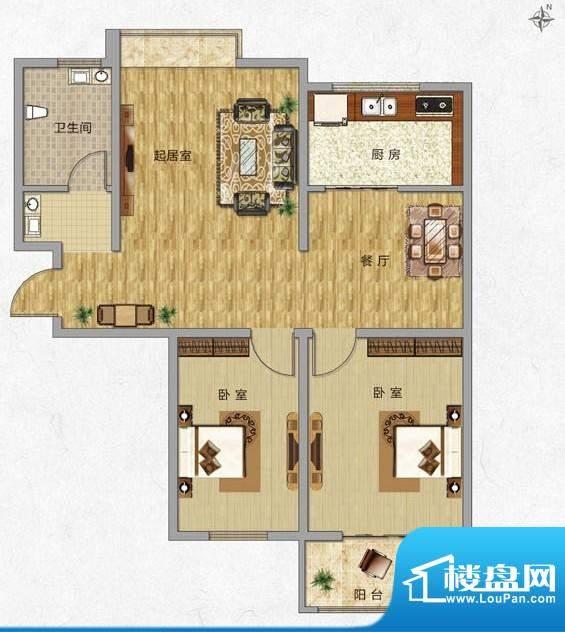海普·凤凰城户型图h3 2室2厅1面积:89.00平米